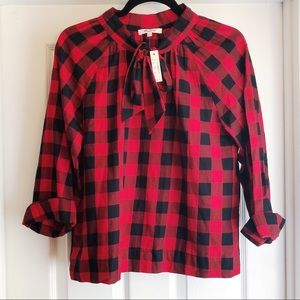 Madewell Tie Red Buffalo Plaid Check Blouse Small